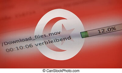Downloading files on a computer, Tunisia flag - Downloading...