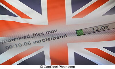 Downloading files on a computer, UK flag - Downloading files...