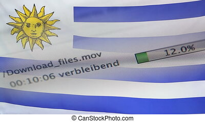 Downloading files on a computer, Uruguay flag - Downloading...