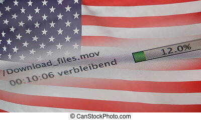 Downloading files on a computer, USA flag - Downloading...