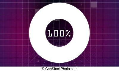 Digital composite of downloading from 0 to 100 percent on circle with sizzle square falling behind on a grid in purple background