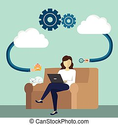 downloads, plat, stijl, concept, monitor, gegevensverwerking, laptop computer, ontwerp, gebruiker, internet, spotprent, wolk