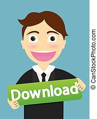 downlond sign show by a business man . Business Concept Illustration
