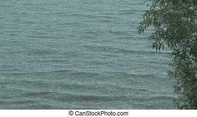 HD 1080 shot of summer downpour on a lake.