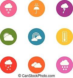 Downpour icons set, flat style - Downpour icons set. Flat...
