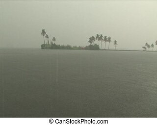 rain - Downpour rain on the Backwaters of Alleppey India