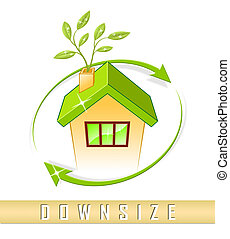Downsize Home Icon Means Downsizing Property Due To...