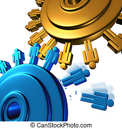 Downsizing and unemployment with job cuts and losses for better business efficiency with teamwork firings to reduce the work force finincial budget of a company with two gears or cogs in the shape of people icons on white.