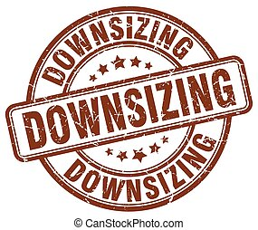 downsizing brown grunge stamp