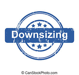 Downsizing business concept stamp with stars isolated on a...