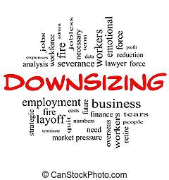 downsizing, conceito, palavra,  &, pretas, vermelho, nuvem