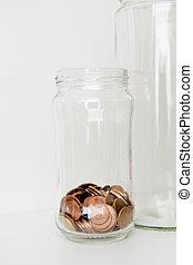 downsizing, concept, pot, muntjes, -, laag, fondsen