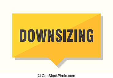 downsizing price tag - downsizing yellow square price tag