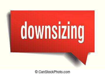 downsizing red 3d speech bubble - downsizing red 3d square...