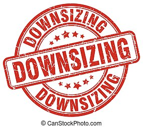 downsizing red grunge stamp