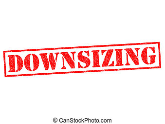 DOWNSIZING red Rubber Stamp over a white background.