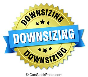 downsizing round isolated gold badge