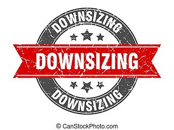 downsizing round stamp with ribbon. label sign - downsizing ...
