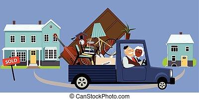 Downsizing seniors - Senior couple moving their belongings ...