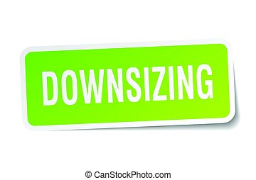 downsizing square sticker on white