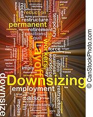 downsizing, woord, wolk, doosje, verpakken