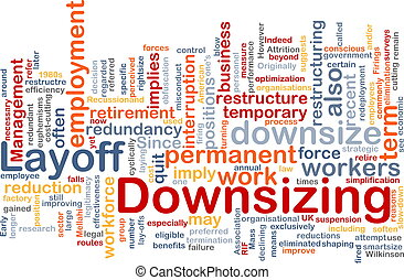 downsizing word cloud - Word cloud concept illustration of...