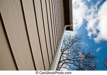 Downspout and siding on an urban house