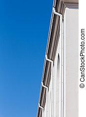 downspouts, parete, fila
