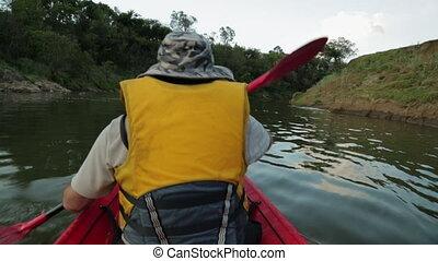 Downstream Canoe Paddling, Qld, Australia - Extreme close-up...