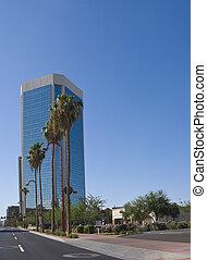 Blue Sky Reflection in Modern Office Skyscraper, Phoenix, AZ
