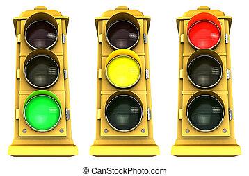 downtown, 3, stoplight, troep