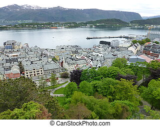 Downtown Aalesund from Fjellstua