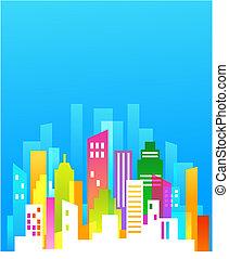 downtown, achtergrond, met, blauwe hemel