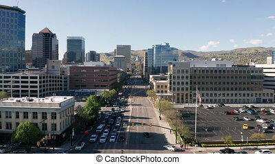 Downtown Aerial View Salt Lake City Utah State Capitol - The...