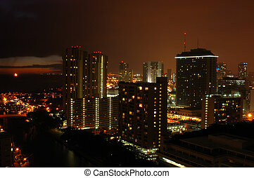 Downtown area of the city of Honolulu, Hawaii at night