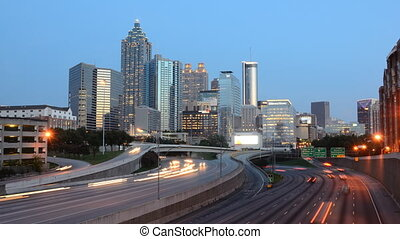 Downtown Atlanta - Time Lapse of traffic on I-85 in downtown...