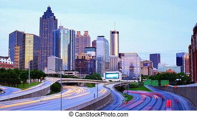 Time lapse of Atlanta, Georgia, USA at downtown above Interstate 85.
