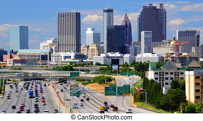 Time Lapse footage of traffic on Interstate 85 heading north towards downtown Atlanta, Georgia, USA.