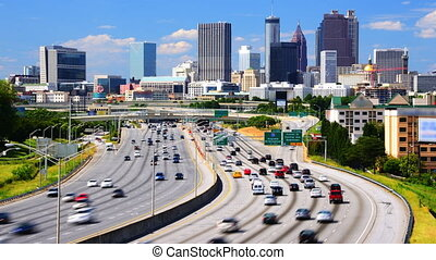 Downtown Atlanta, Georgia - Time Lapse footage of traffic on...