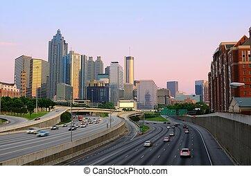downtown, atlanta, skyline