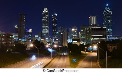 Downtown Atlanta - Time Lapse of traffic on Freedom Parkway...