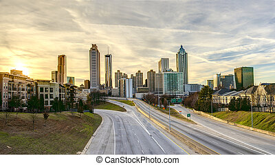 downtown Atlanta with no people and cars - Panorama of...
