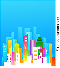 Downtown/ real estate background with blue sky
