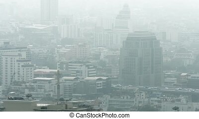 Downtown Bangkok, Thailand on a Gray, Hazy Day - Afternoon...