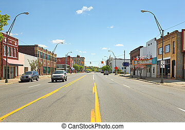 Downtown Benton Harbor Michigan - a street view of a mid ...