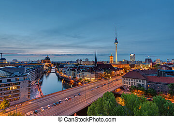 Downtown Berlin after sunset