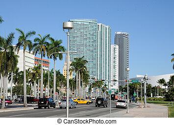 downtown, biscayne, boulevard, florida, miami