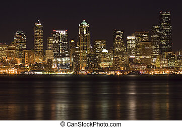Downtown buildings - A shot of Seattle downtown buildings at...