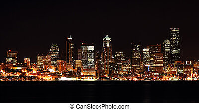 Downtown buildings - A view of Seattle downtown buildings at...