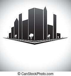 Downtown buildings in b & w of modern city skyline with skyscrapers, trees, tall towers and streets in shades of black, white and grey